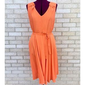 NWT Ann Taylor Orange Fit & Flare Flowing Dress